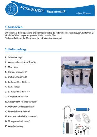 Montageanleitung für Osmose-Anlage - Wassertechnik für sauberes Trinkwasser.